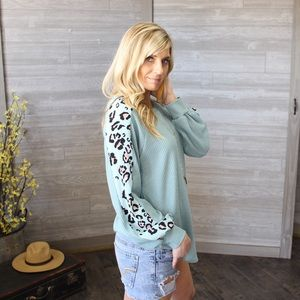 Leopard Sleeve Waffle Knit Tunic